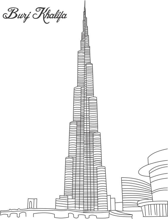 Burj Khalifa Coloring Page For Kids Pages Of Great Building.