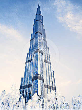Burj Khalifa Tower At Night Royalty Free Stock Photos.