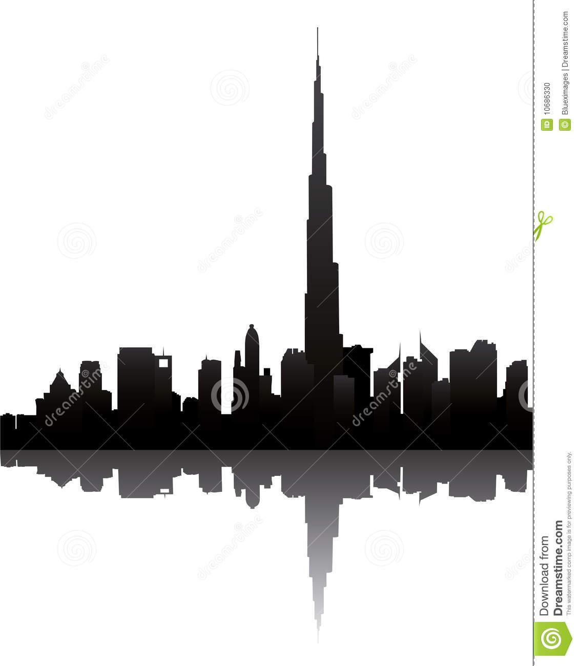 Dubai Skyline With Burj Dubai Stock Photo.