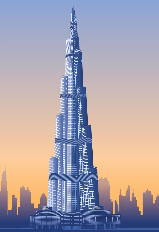 Burj Khalifa Vector Art, Dubai Highest Skyscraper.