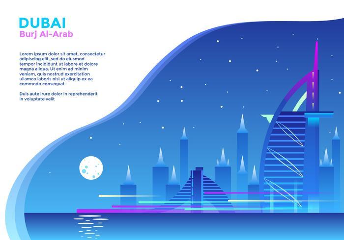 Burj Al Arab Hotel Dubai Vector.