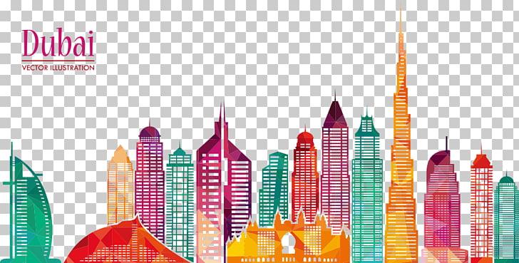 Burj Khalifa Skyline Skyscraper Illustration, Dubai city.