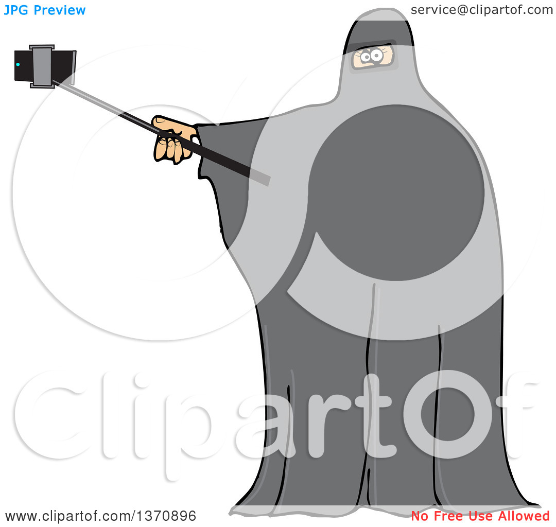 Clipart of a Cartoon Muslim Woman Wearing a Burka and Taking a.