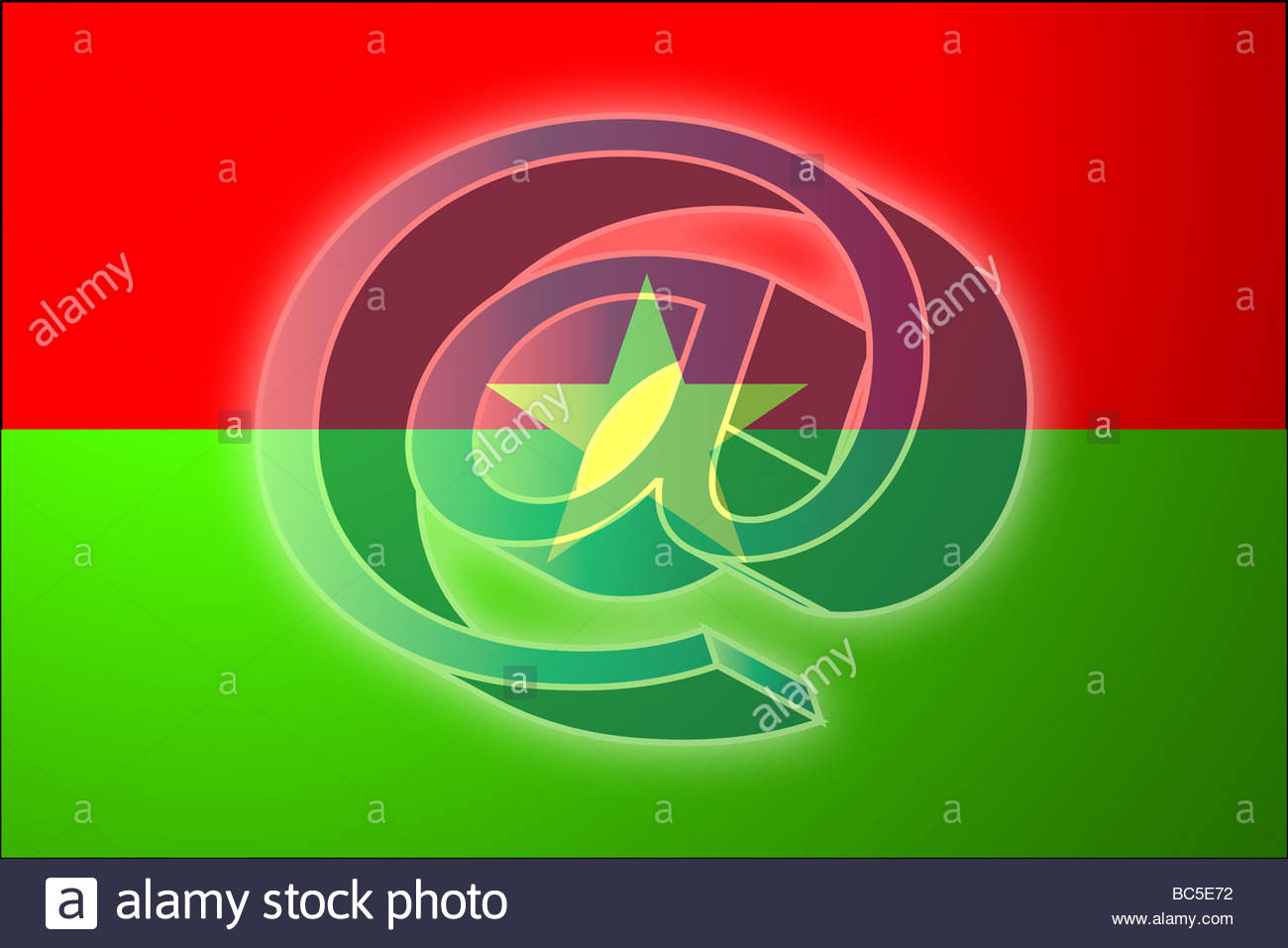 At Superimposed Over Flag Of Burkina Faso National Symbol Stock.