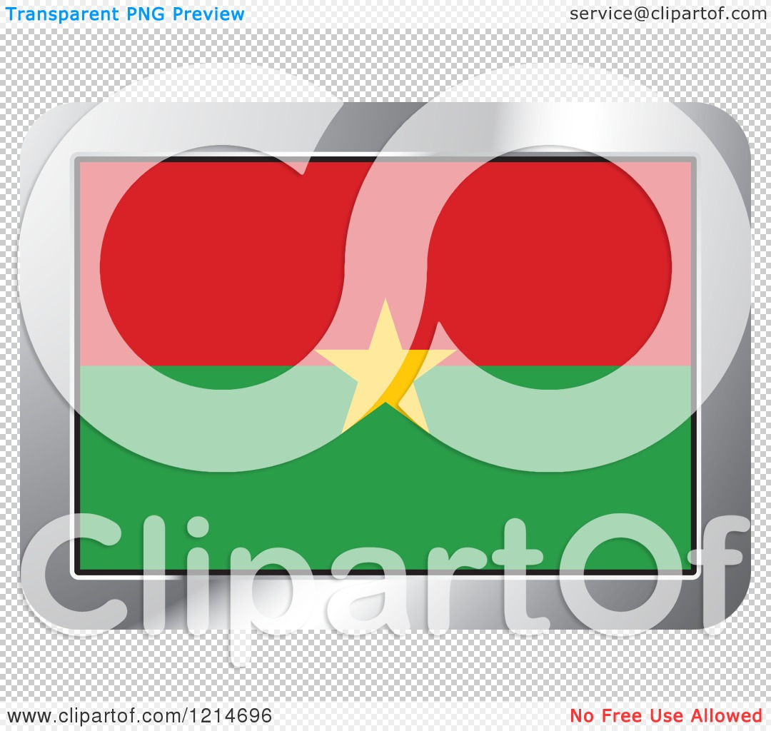 Clipart of a Burkina Faso Flag and Silver Frame Icon.