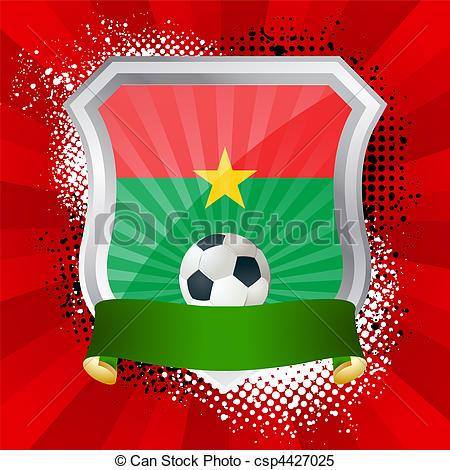 Clipart Vector of Shield with flag of Burkina Faso.