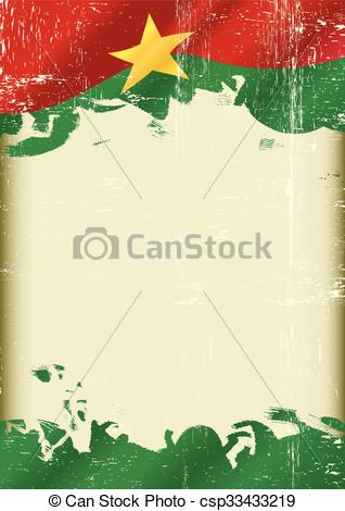 Vector Clip Art of Burkina Faso Flag grunge background.