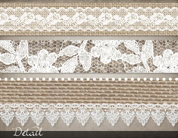 Burlap and Lace Borders, lace clip art, burlap border clipart, rustic  wedding digital borders, shabby chic white lace instant download.