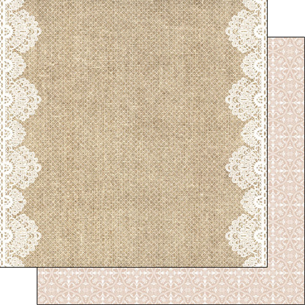 Scrapbook Customs Burlap and Lace Borders Paper.