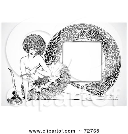 Clipart of a Sketched Brunette White Burlesque Dancer Woman over.
