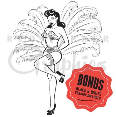 Burlesque Clip Art Illustration.