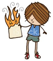 Boy With Burning Paper Stock Vector.