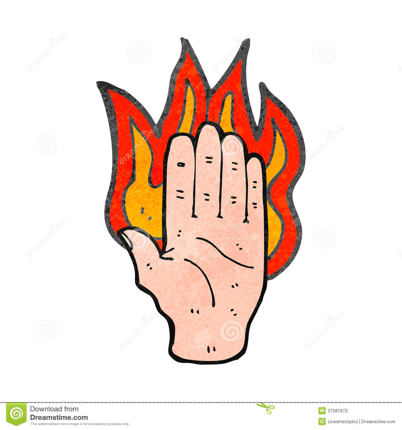 Retro cartoon burning hand stock vector. Illustration of texture.