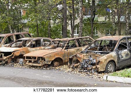 Stock Photography of Burned car k17782281.