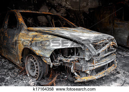 Pictures of Close up photo of a burned out car k17164358.