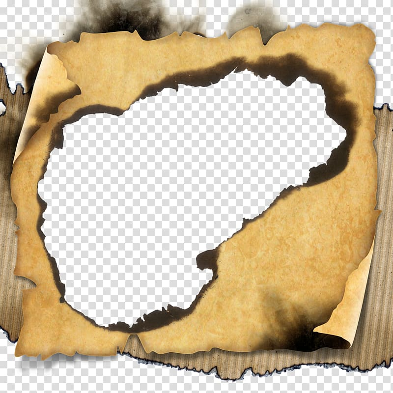Brown scroll, Paper, Burn old paper transparent background.