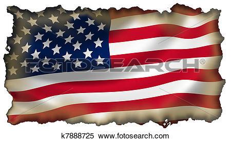 Stock Illustration of Burned American flag isolated k7888725.