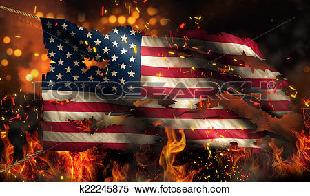 Stock Illustration of USA America Burning Fire Flag War Conflict.