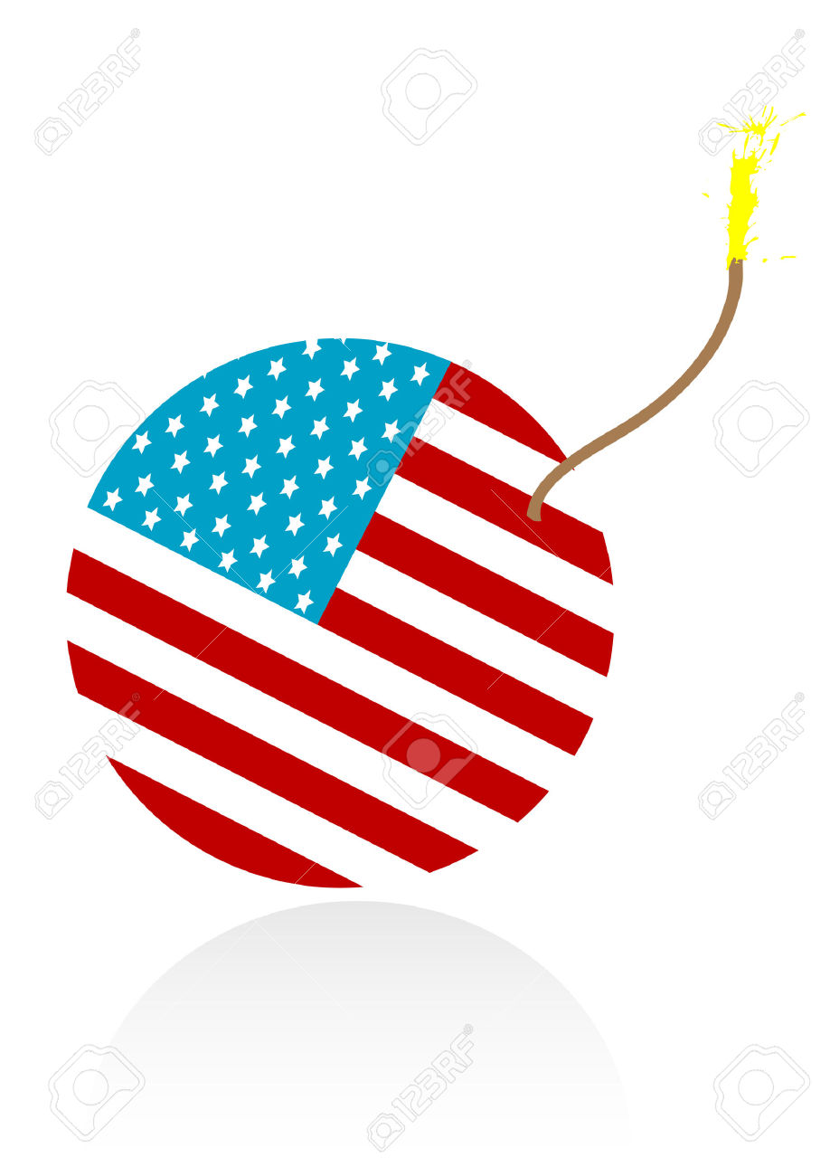 Illustration Of A Burning Bomb With American Flag Royalty Free.