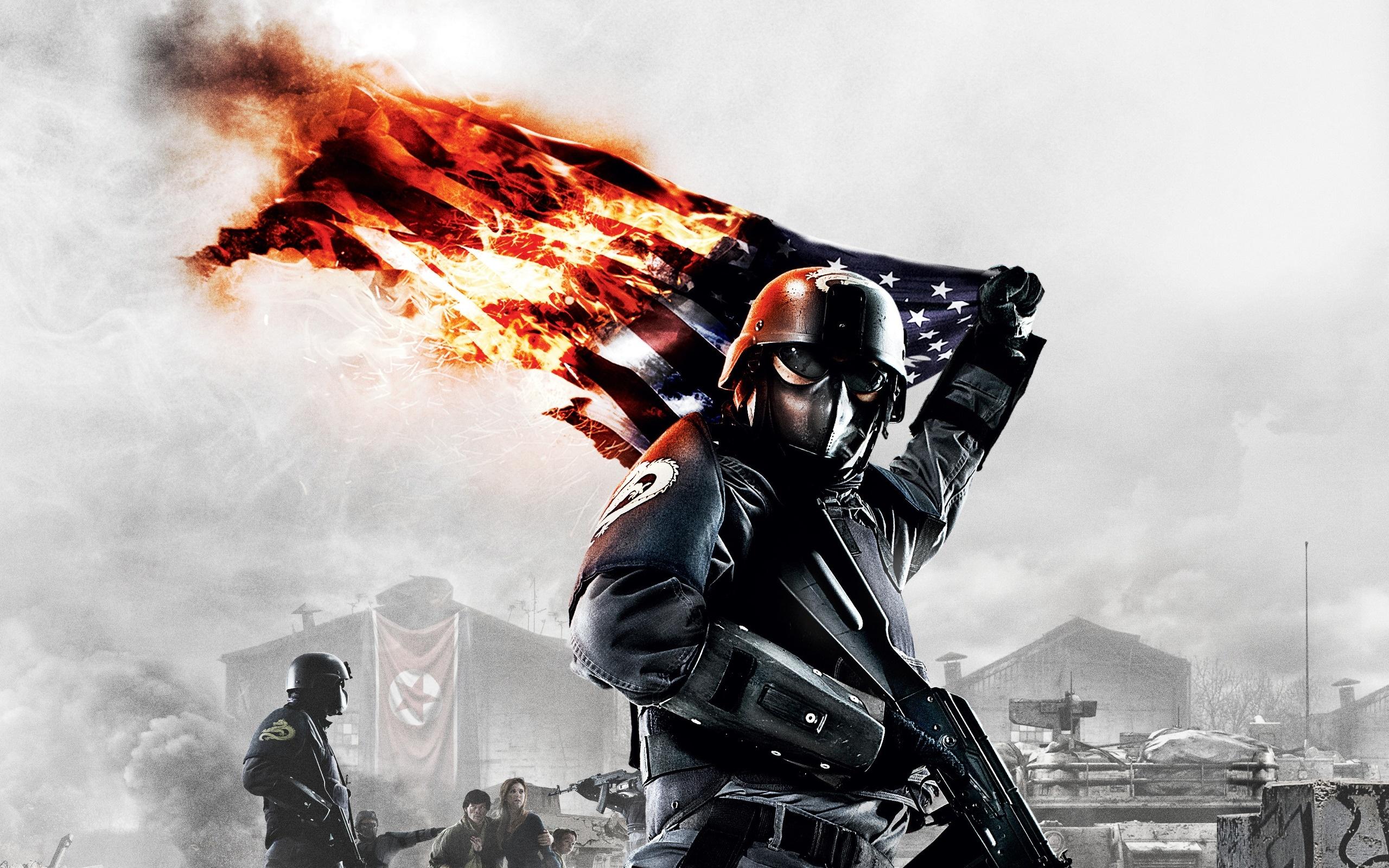 Soldier Holding Burning US Flag.