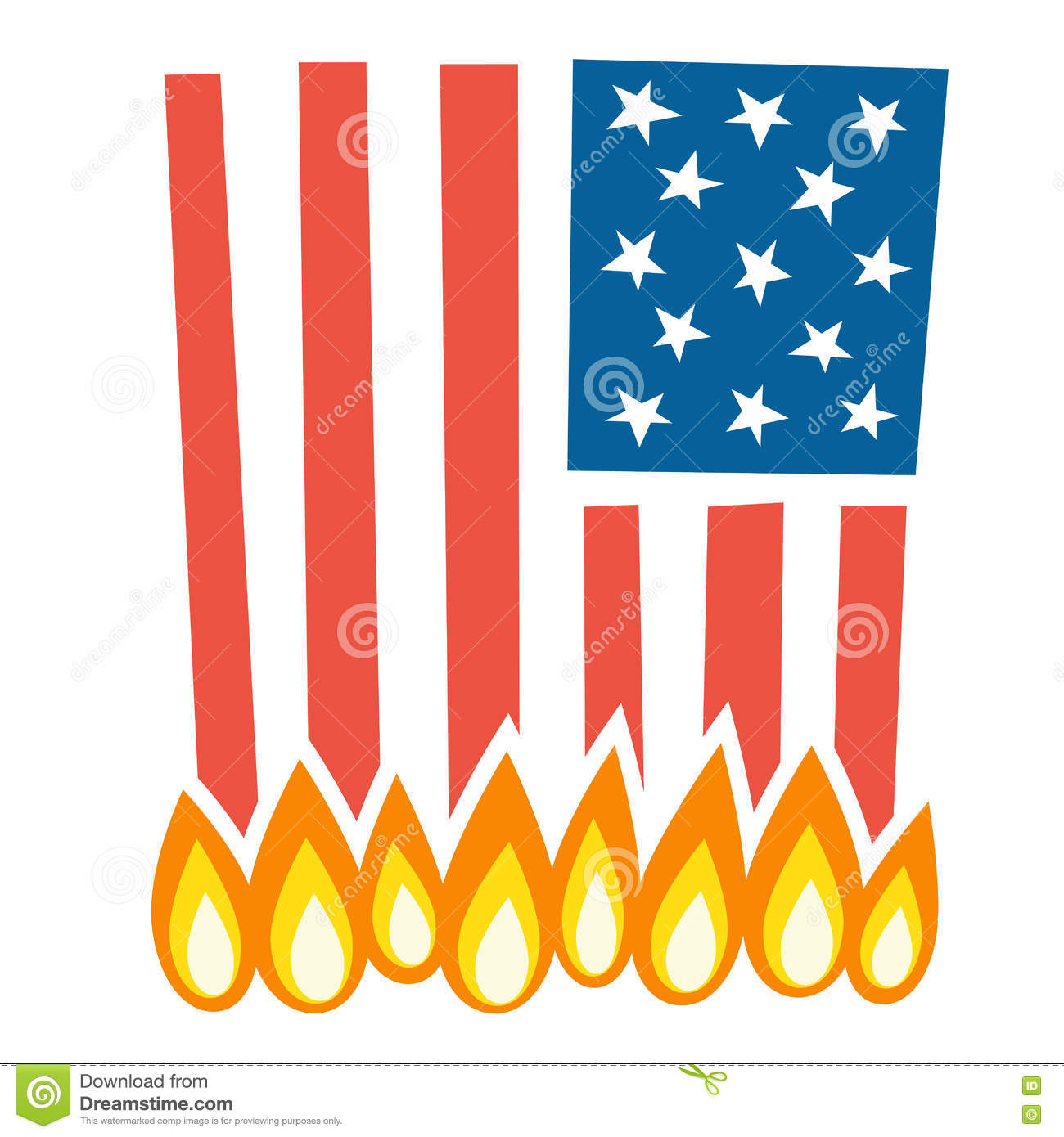 Illustration Of Burning American Flag Stock Vector.