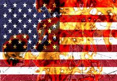 Burning American Flag Stock Illustrations.