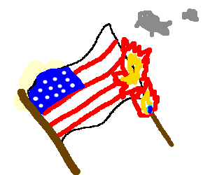 burning american flag (drawing by James9589).