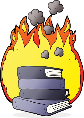 cartoon stack of books burning Clipart Image.