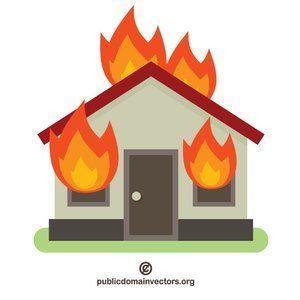 Burning house vector image.
