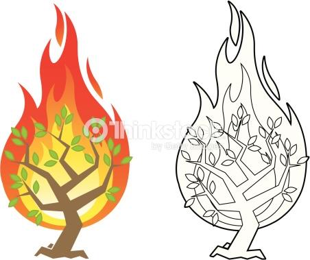 Burning bush vector illustration » Clipart Station.