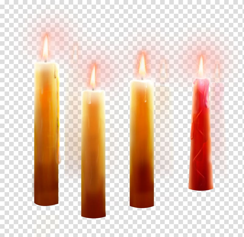 Four yellow candles illustration, Candle Wax Cylinder, Burning.