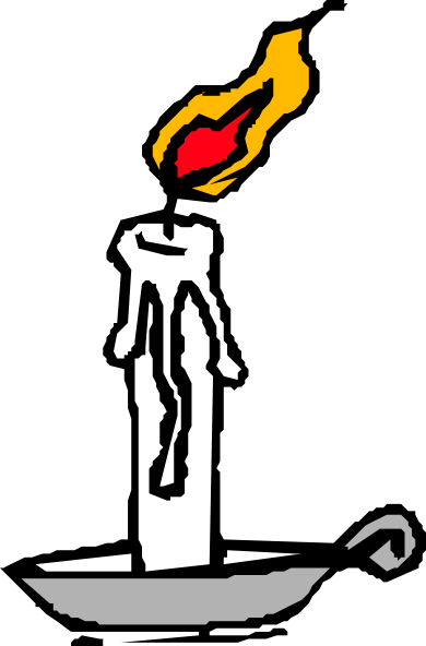Burning Candle Black And White Clipart.
