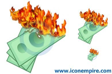 Burning Money Clipart.