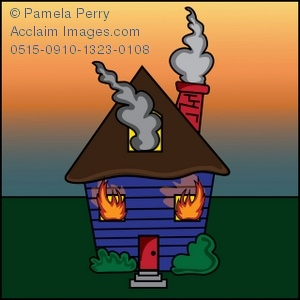 House burning down clipart.