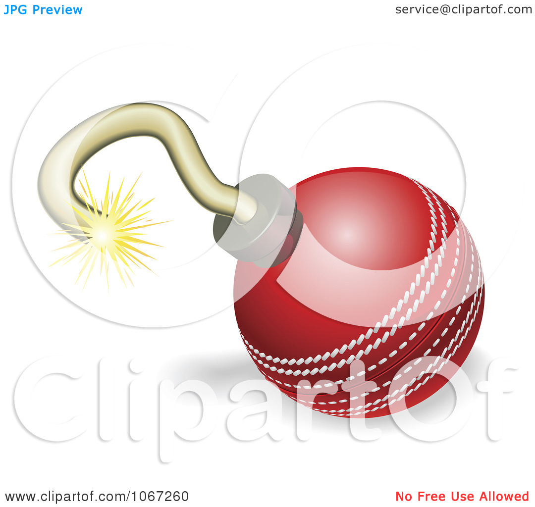 Clipart Cricket Ball Cherry Bomb With Lit Fuse Burning Down.