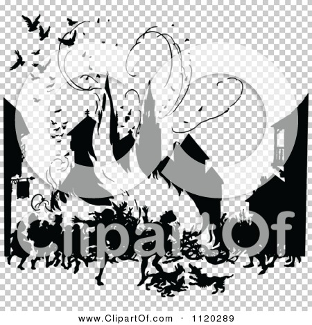Clipart Of A Silhouetted Town Burning Down In A Fire.