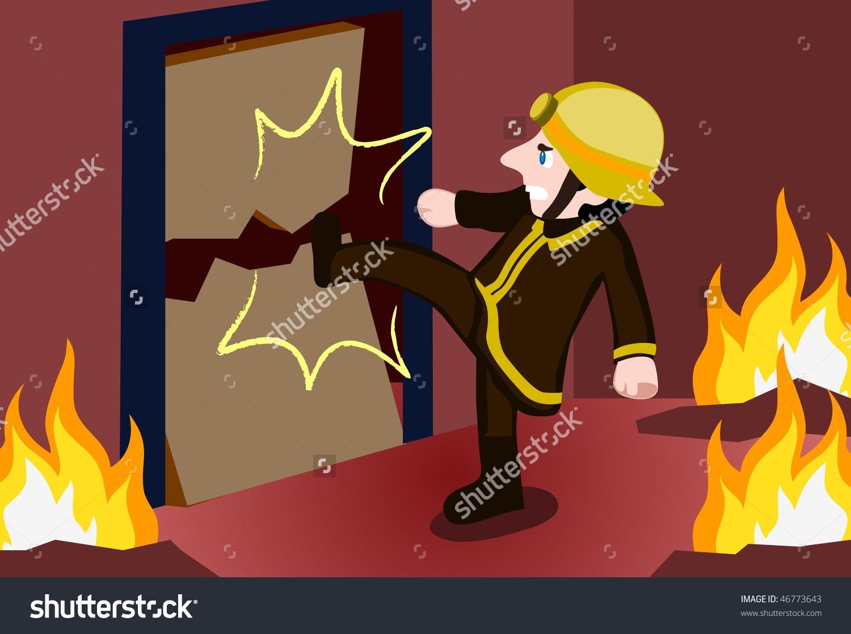 Image Firefighter Kicking Down Door House Stock Vector 46773643.