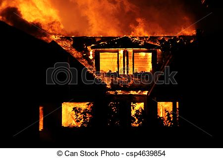 Stock Photo of House on fire.