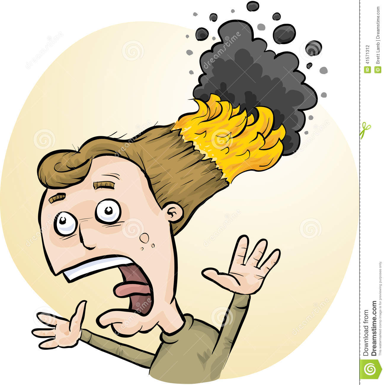 Cartoon Man Burning Hair Stock Photos, Images, & Pictures.