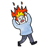 Clipart of cartoon man with burning hair k22251293.