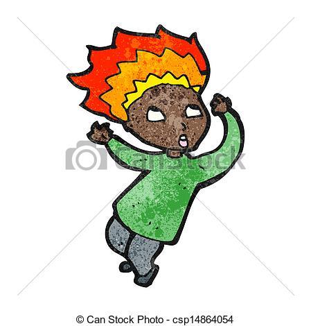 Clipart Vector of cartoon man with burning hair csp14864054.