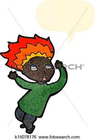 Clip Art of retro cartoon boy with burning hair k15078176.