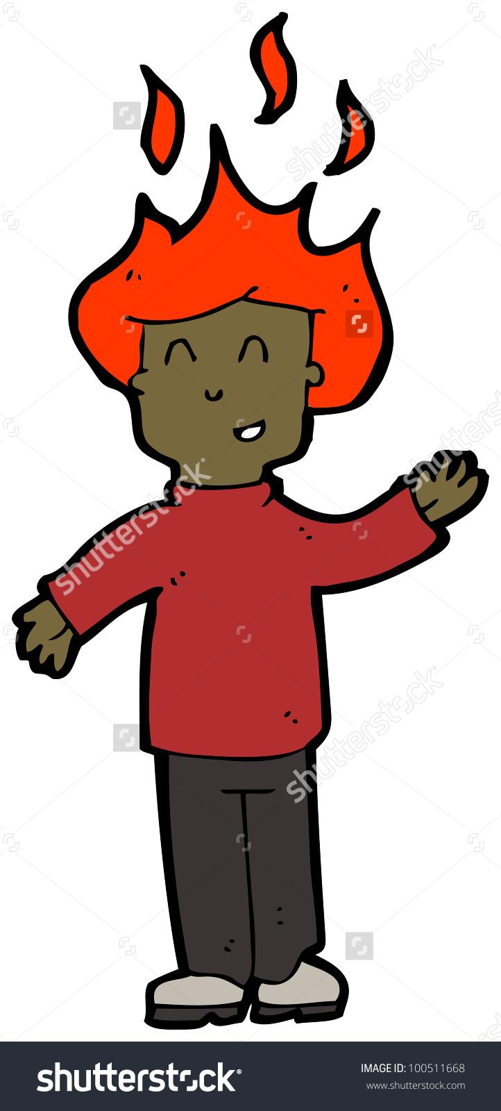Cartoon Man With Burning Hair Stock Photo 100511668 : Shutterstock.