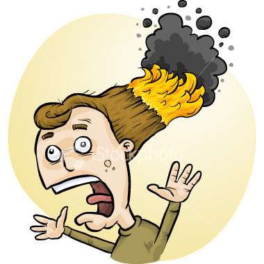 Girl with hair on fire clipart.