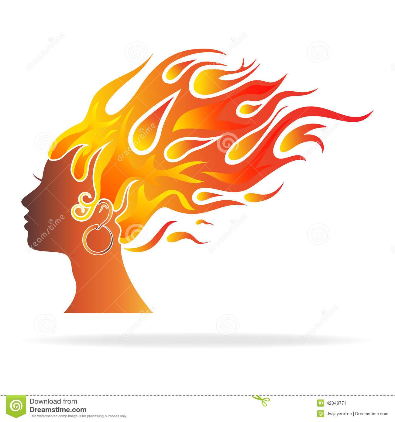 Head And Hair Burning Women Stock Vector.