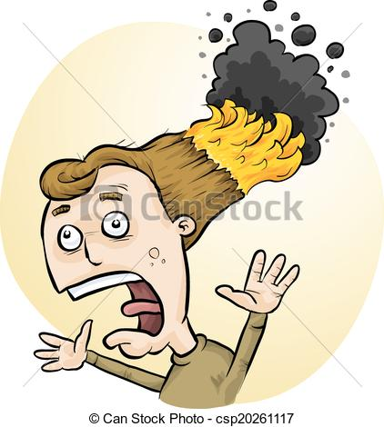 Vectors Illustration of cartoon man with hair on fire csp14822572.