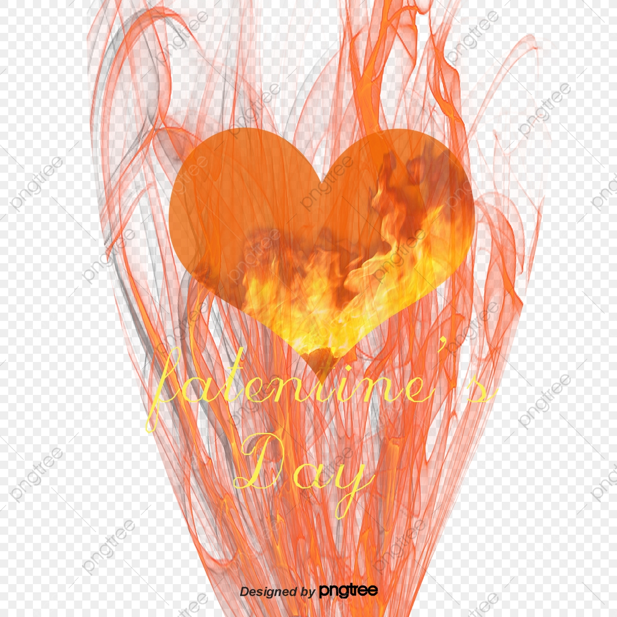 Burning Heart Shaped Flame, Flame Clipart, Heart Shaped, Burning.