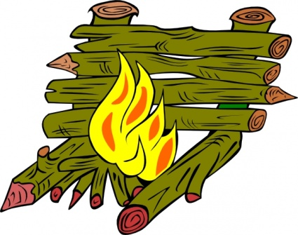 Burning logs clipart.