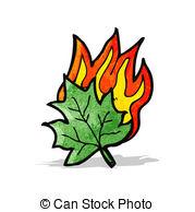 Vector Clipart of retro cartoon burning leaf symbol csp15071806.