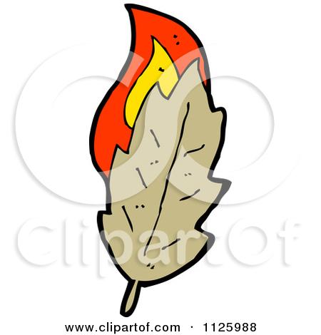 Cartoon Of A Burning Brown Leaf 3.